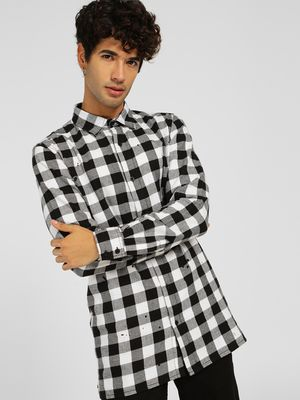 SKULT By Shahid Kapoor Gingham Check Longline Shirt