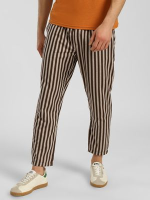Fighting Fame Vertical Stripe Drawcord Slim Trousers