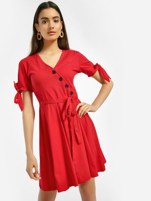 KOOVS Tie-Knot Skater Dress