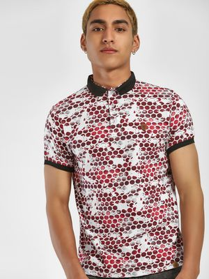 Blotch Circle Print Polo Shirt