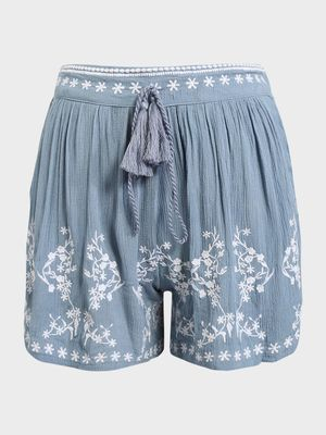 KOOVS Floral Embroidered Pleated Shorts