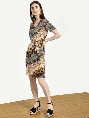 Femella Mixed Animal Print Shift Dress