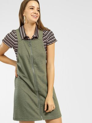 New Look Zipper Front Pinafore Dress
