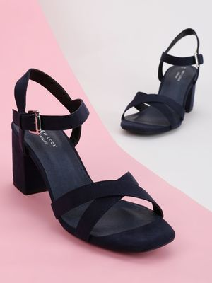 New Look Suede Cross Strap Heeled Sandals
