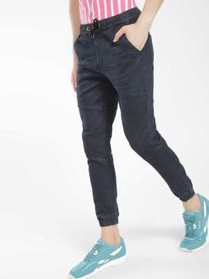 K Denim KOOVS Contrast Panel Denim Joggers