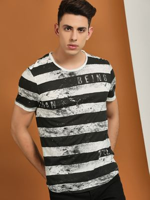 Being Human Striped Smudge Printed T-Shirt