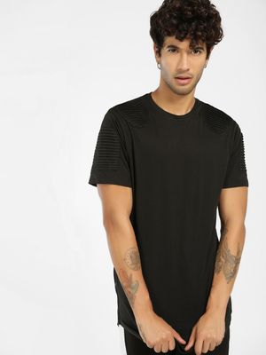 SKULT By Shahid Kapoor Pintuck Detail Curved Hem T-Shirt