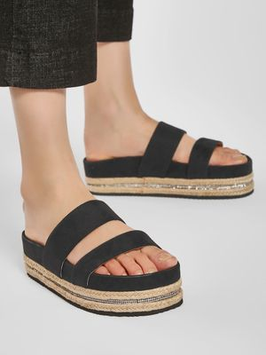 KOOVS Suede Gem Embellished Sole Slides