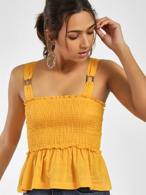KOOVS Smocked Strappy Peplum Crop Top