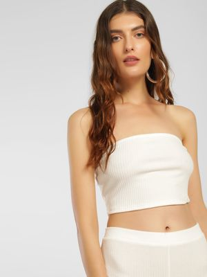 Iris Ribbed & Cropped Bandeau Top