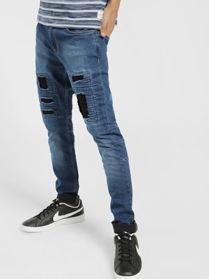 X.O.Y.O Mid-Wash Patch Panelled Slim Jeans