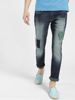 Styx & Stones Light Wash Distressed Patch Slim Jeans