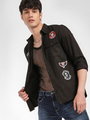 Styx & Stones Badge Applique Twin Pocket Shirt