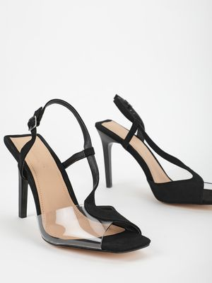 Truffle Collection Asymmetric Perspex Suede Strap Heeled Pumps