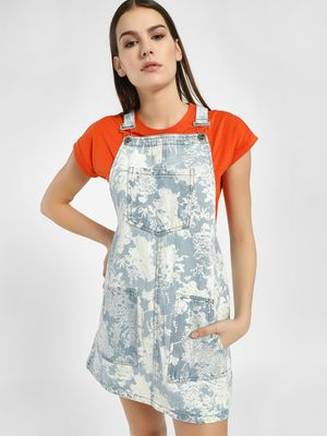 K Denim KOOVS Floral Bleach Wash Shift Dress