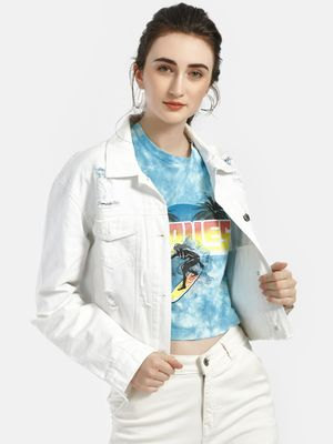 K Denim KOOVS Distressed Denim Crop Trucker Jacket