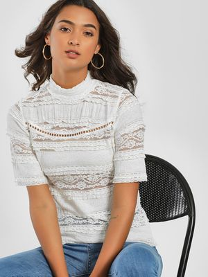 Only High Neck Lace Blouse