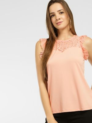 Vero Moda Lace Insert Sleeveless Blouse