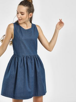 KOOVS Denim Sleeveless Skater Dress