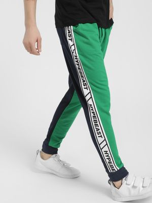 Fighting Fame Colour Block Text Tape Joggers