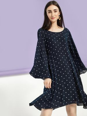 Femella Dobby Flared Sleeve Shift Dress
