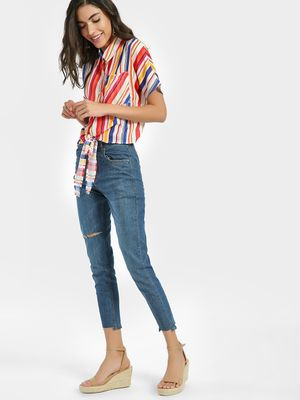 K Denim KOOVS Mid-Wash Distressed Cropped Skinny Jeans
