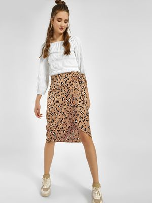 Lola May Leopard Print Wrap Midi Skirt