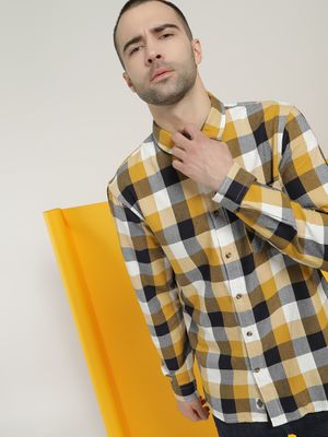Celio Woven Multi-Check Patch Pocket Shirt