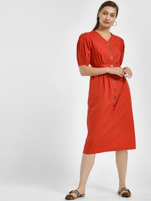 PostFold Button Detail Puffed Sleeves Midi Dress