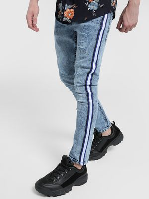 Blue Saint Bleach Wash Side Tape Distressed Jeans