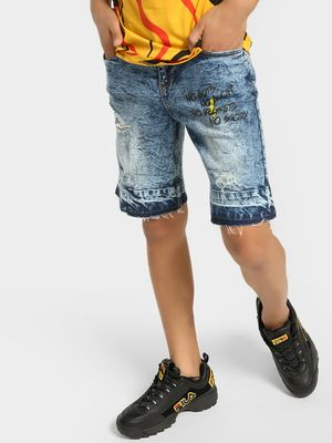 Blue Saint Badge Stone Wash Denim Shorts