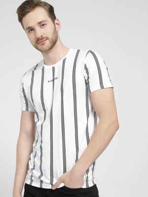 Blue Saint Crew Neck Vertical Stripe T-Shirt