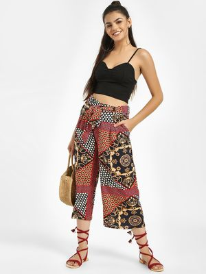 Missi Clothing Scarf Print Belted Culottes