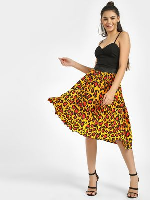 Missi Clothing Leopard Print Pleated Midi Skirt