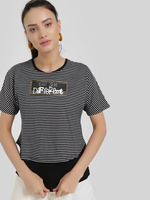 Jealous 21 Dare To Be Different Print Striped T-Shirt
