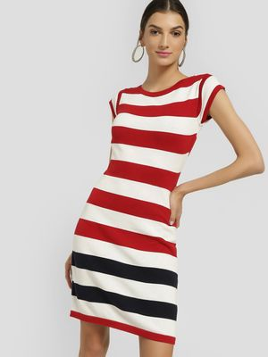 SCULLERS FOR HER Ribbed Horizontal Stripe Shift Dress