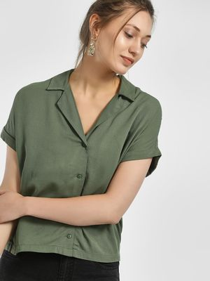 Only Revere Collar Casual Cropped Shirt