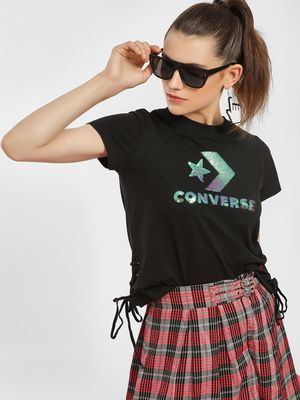 Converse Holographic Sequin Embellished Logo T-Shirt
