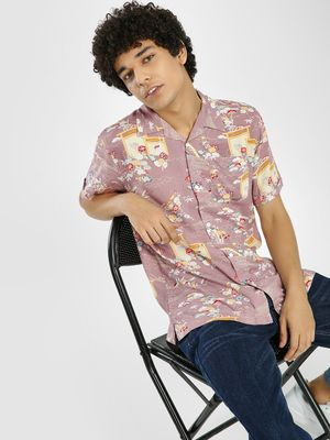 D-Struct All Over Print Cuban Collar Shirt