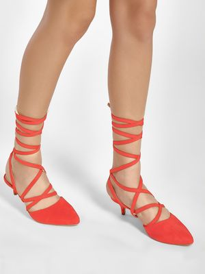 KOOVS Ankle Tie Kitten Heel Pumps