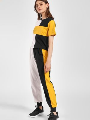 Beyond Clouds Colour Block Cuffed Joggers