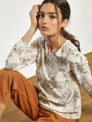 New Look Snake Print Back Button Blouse