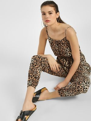New Look Strappy Cropped Leopard Print Jumpsuit