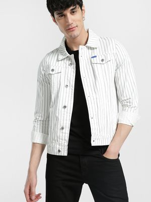 Blue Saint Vertical Stripe Denim Jacket