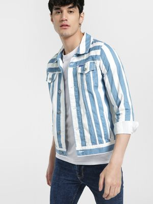 Blue Saint Colour Block Stripe Denim Jacket