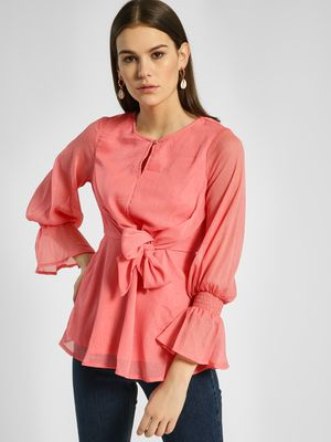 HEY Shimmer Front Tie-Knot Blouse