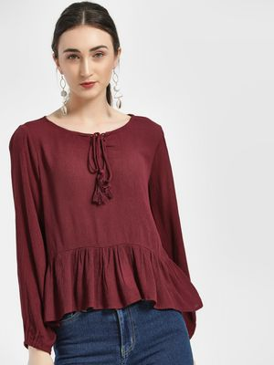 HEY Front Tie-Up Peplum Top