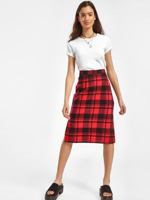 Daisy Street Buffalo Check Midi Skirt