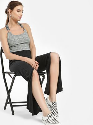 Daisy Street Front Slit Ribbed Trousers