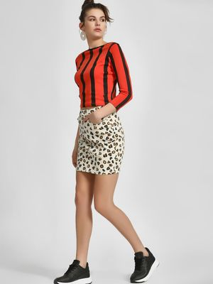 LOVEGEN Leopard Print Denim Skirt